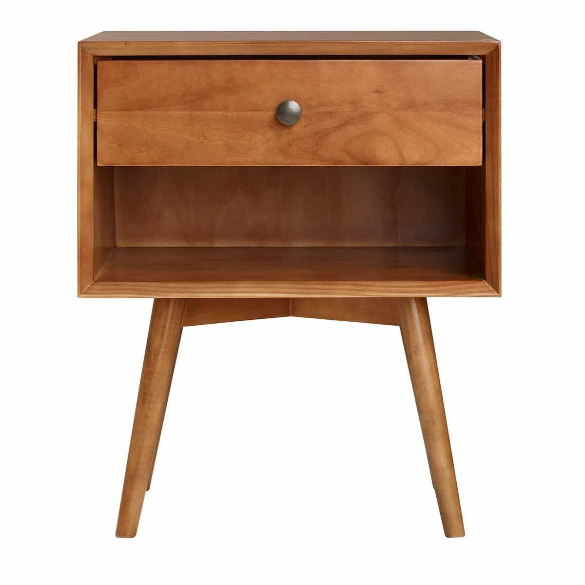 Ferrara Mid Century Solid Wood Nightstand with 1 Drawer
