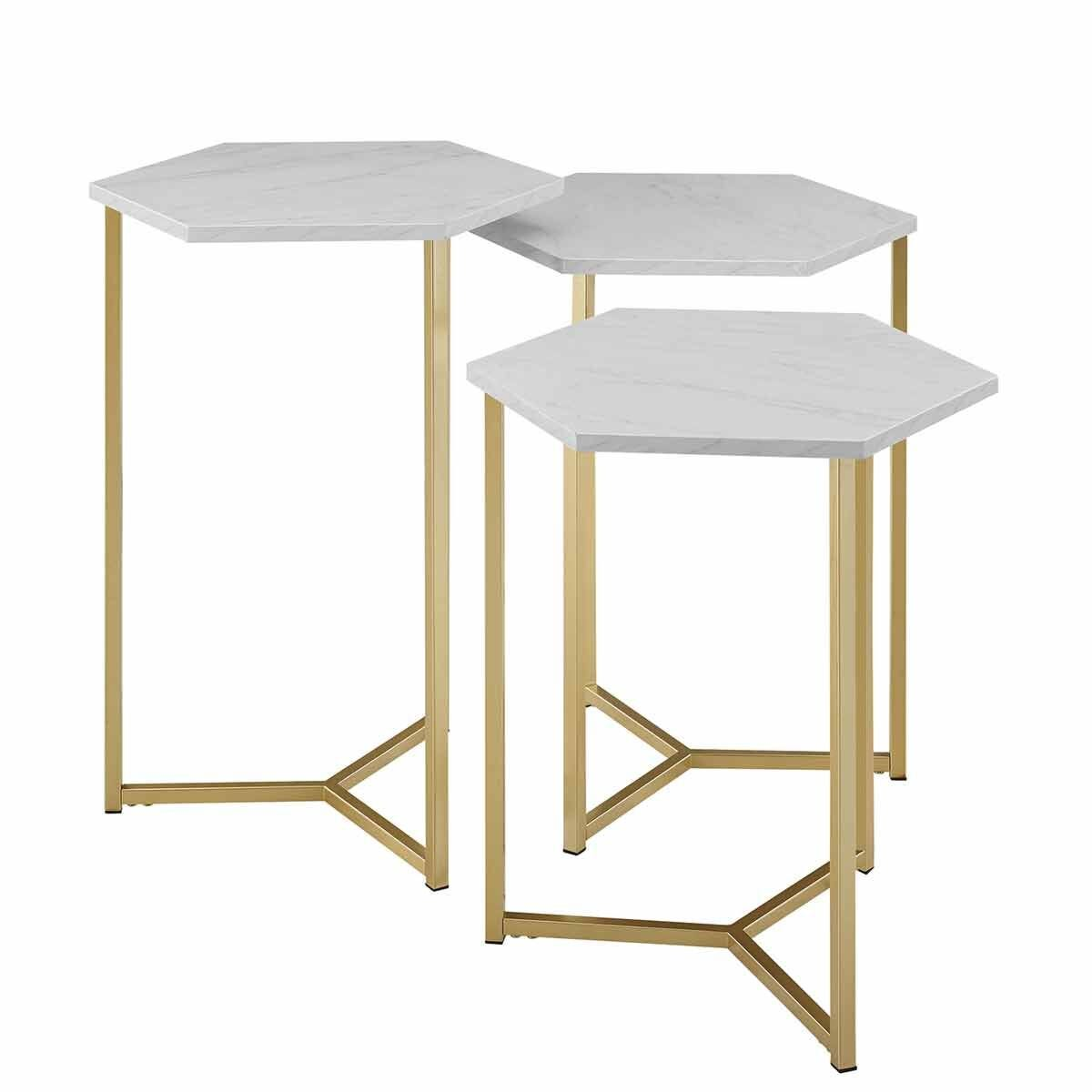 Chicago Modern Nesting Tables Set of 3 White Marble
