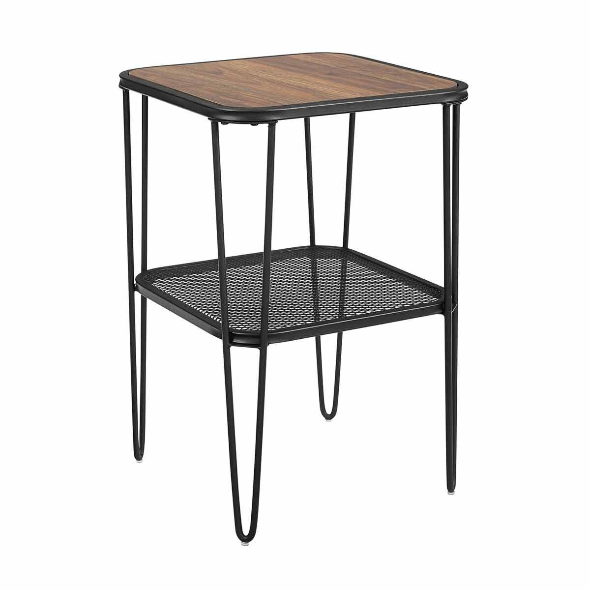 Boston Industrial Mesh Side Table with Hairpin Legs Walnut