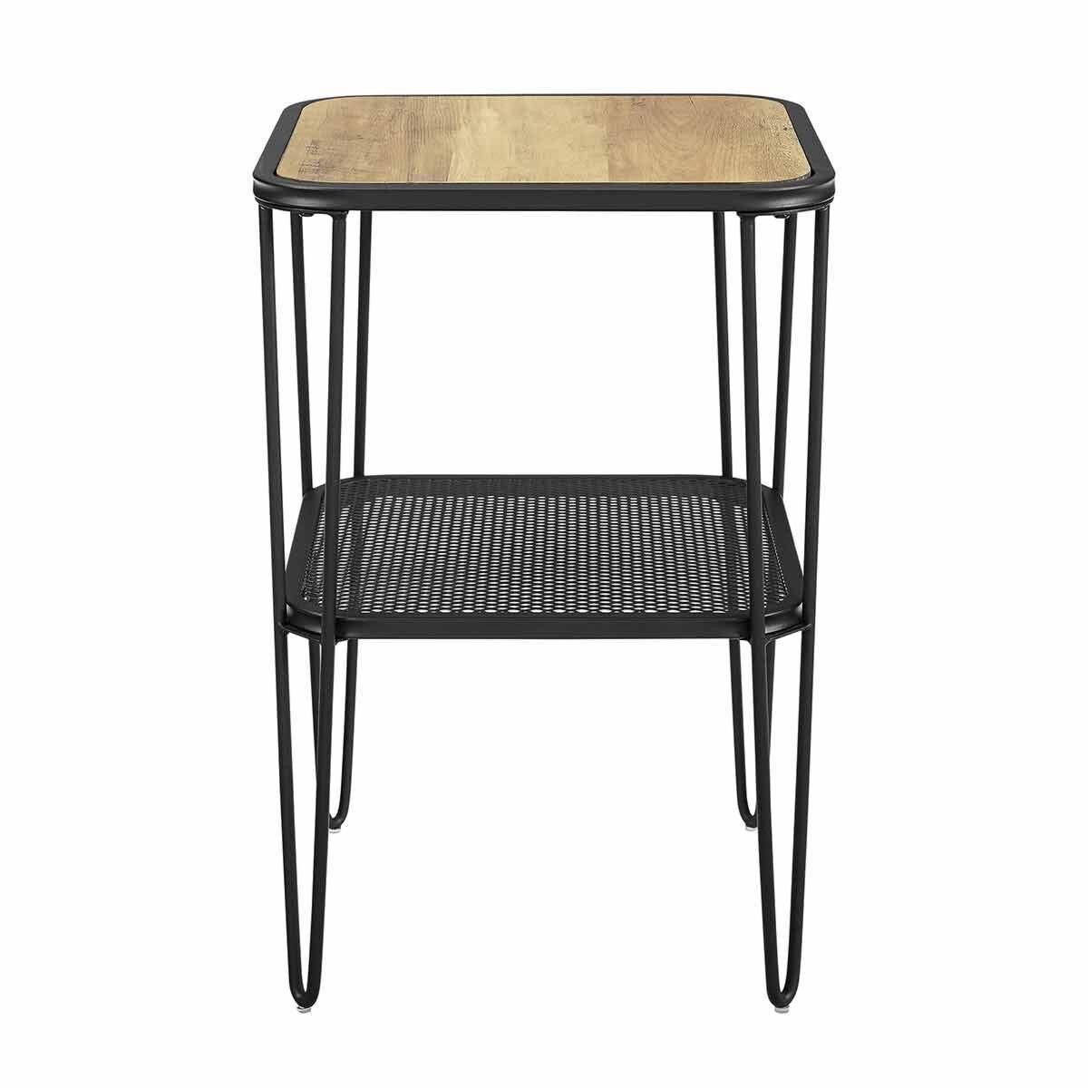 Boston Industrial Mesh Side Table with Hairpin Legs Oak
