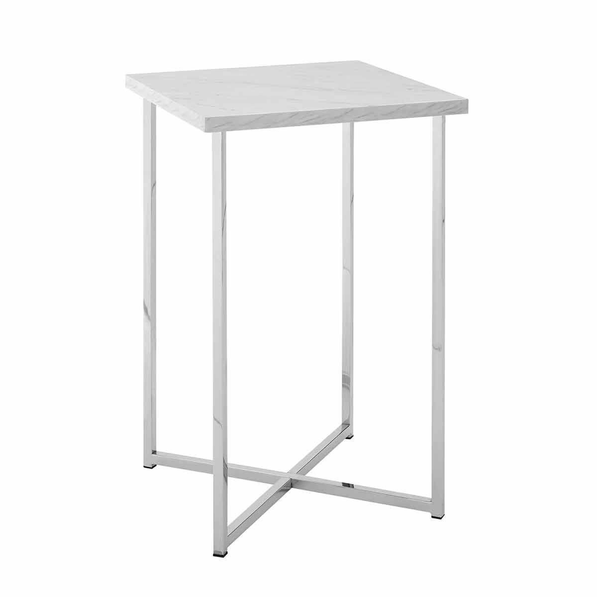Seattle Modern Square Side Table with Chrome Legs