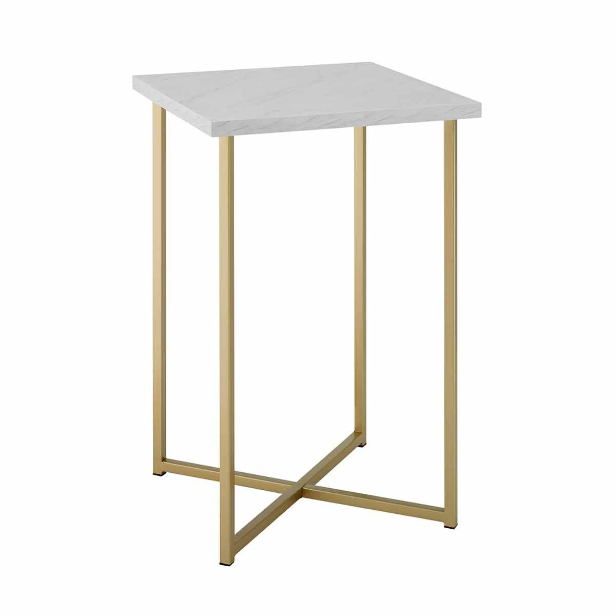 Seattle Modern Square Side Table with Gold Legs White
