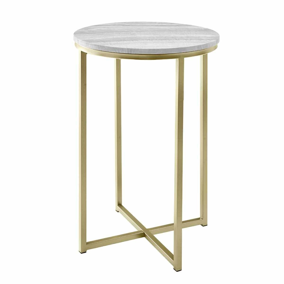 Melissa Faux Stone Round Side Table Marble Grey