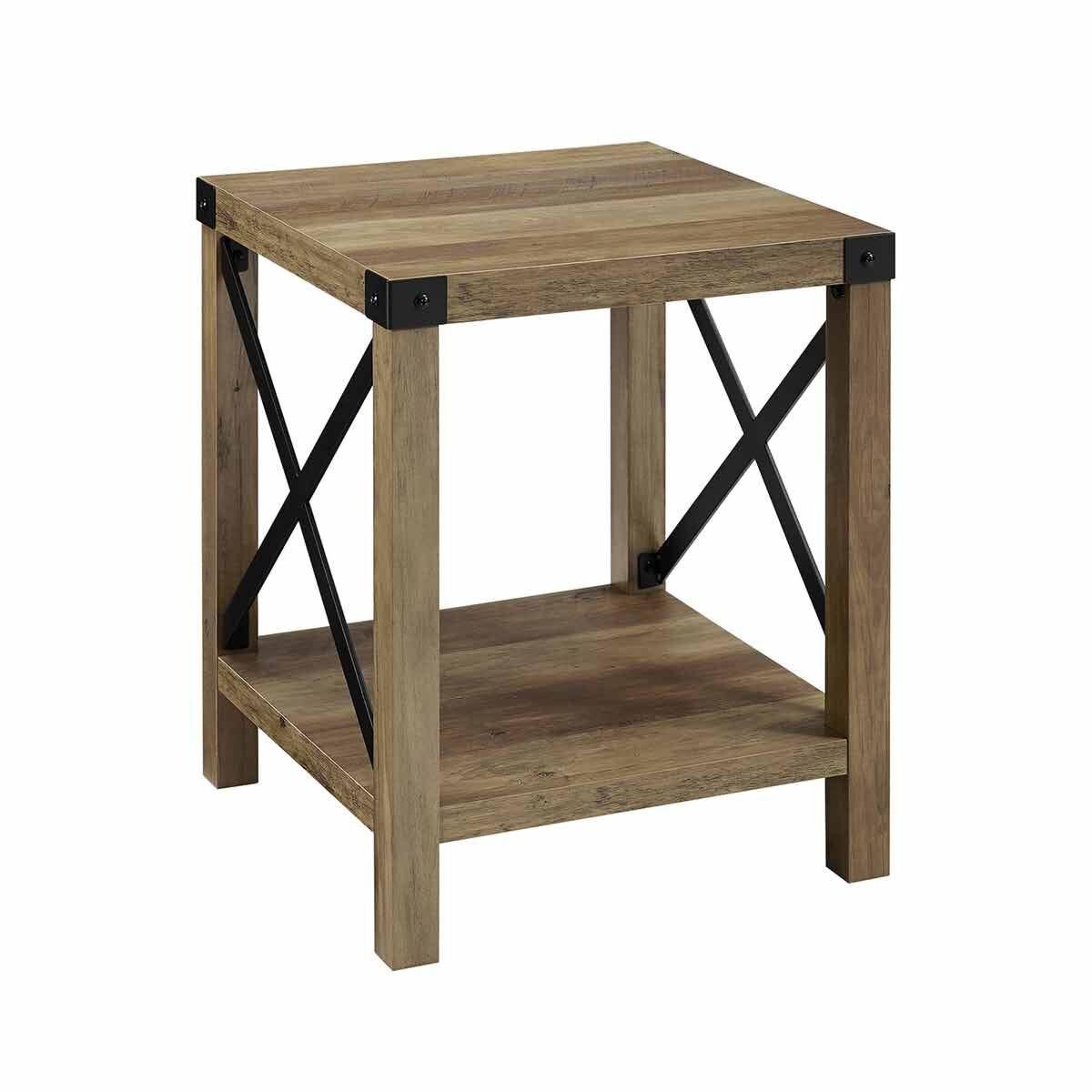 Tulsa Rustic Wood Side Table Oak