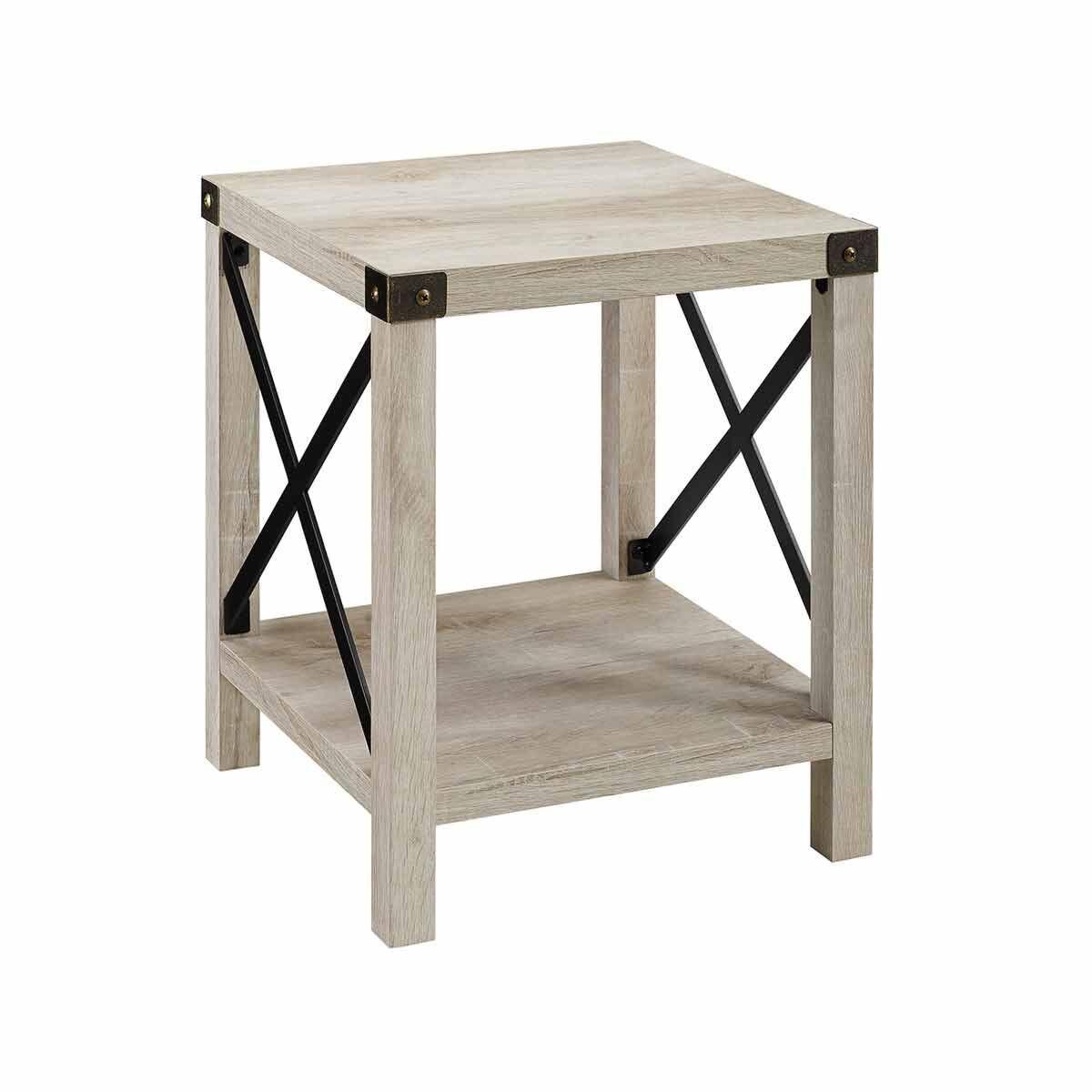 Tulsa Rustic Wood Side Table Light Oak