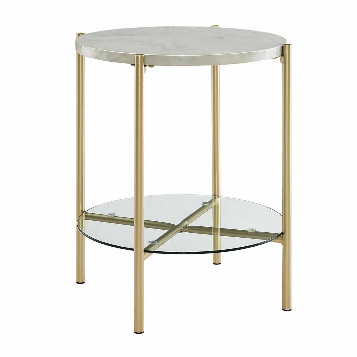 Lexington Mixed Material Round Side Table White Marble