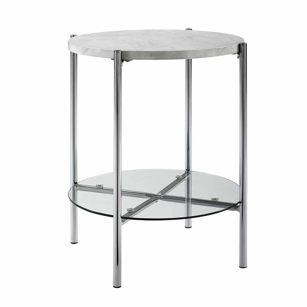 Lexington Mixed Material Round Side Table White