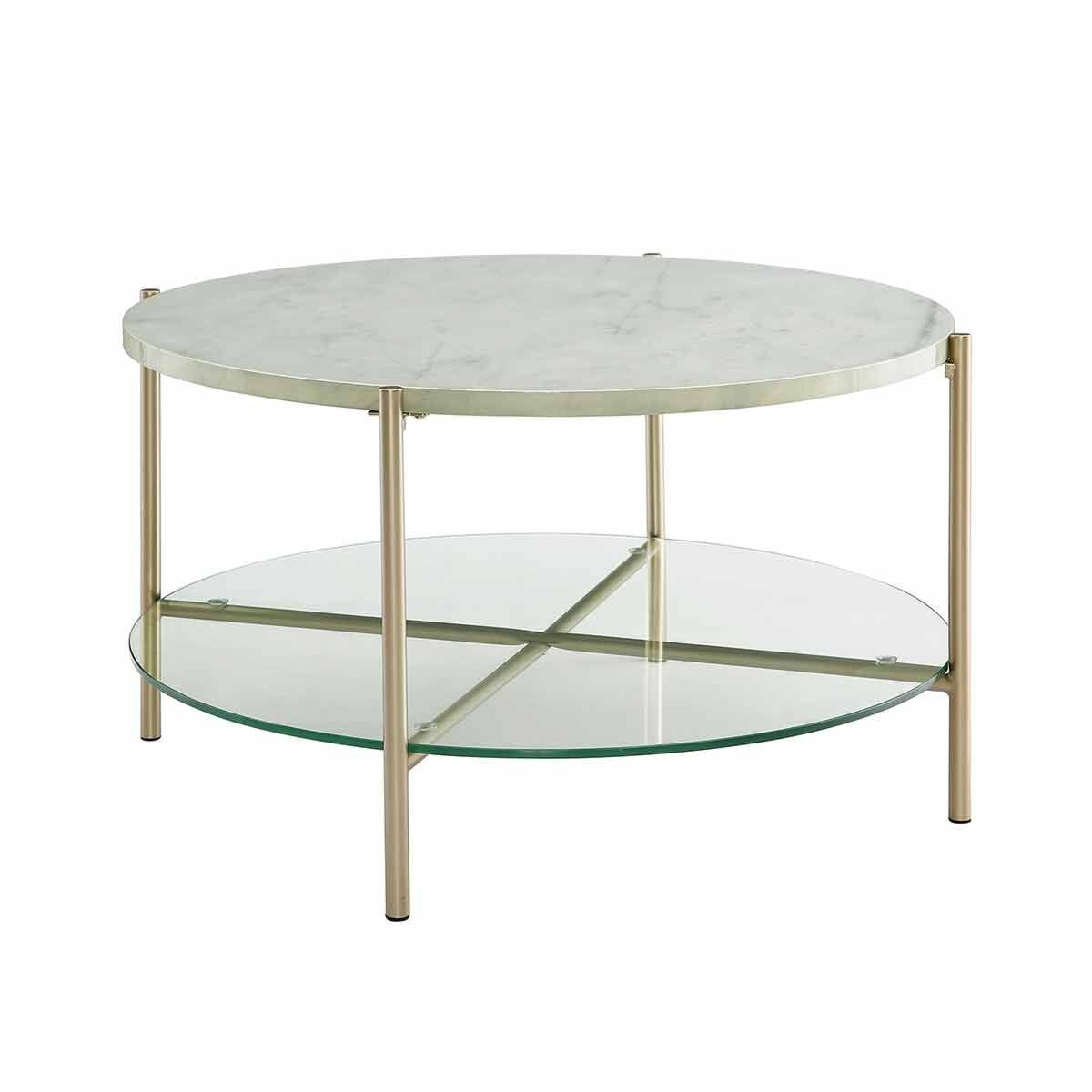 Malabo Modern Round Coffee Table with Glass Shelf White Marble