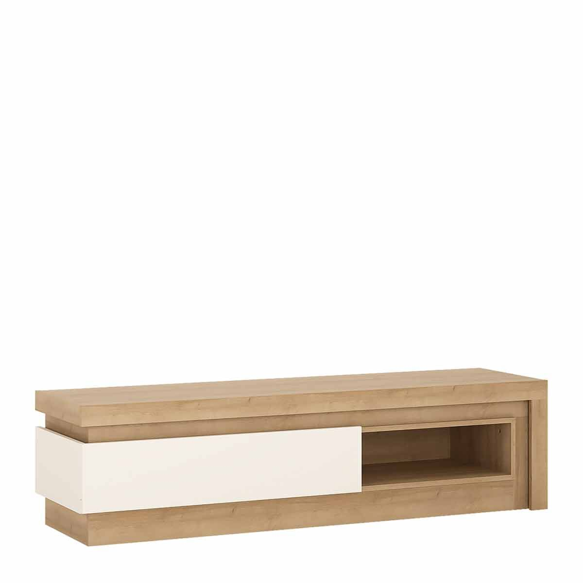 Lyon 1 drawer TV Cabinet with Open Shelf and LED Lighting