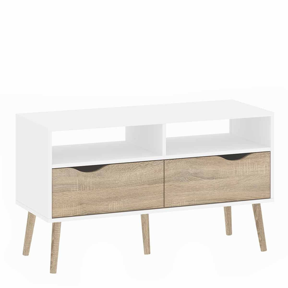 Oslo 2 Drawer 2 Shelves TV Unit White