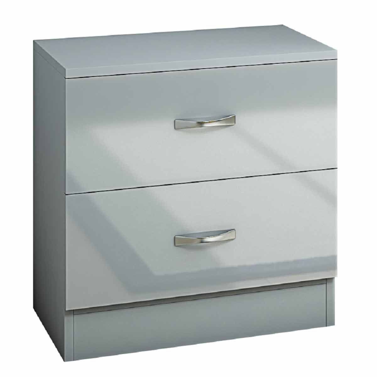 Chilton 2 Drawer Bedside Drawers with High Gloss Drawer Fronts Grey