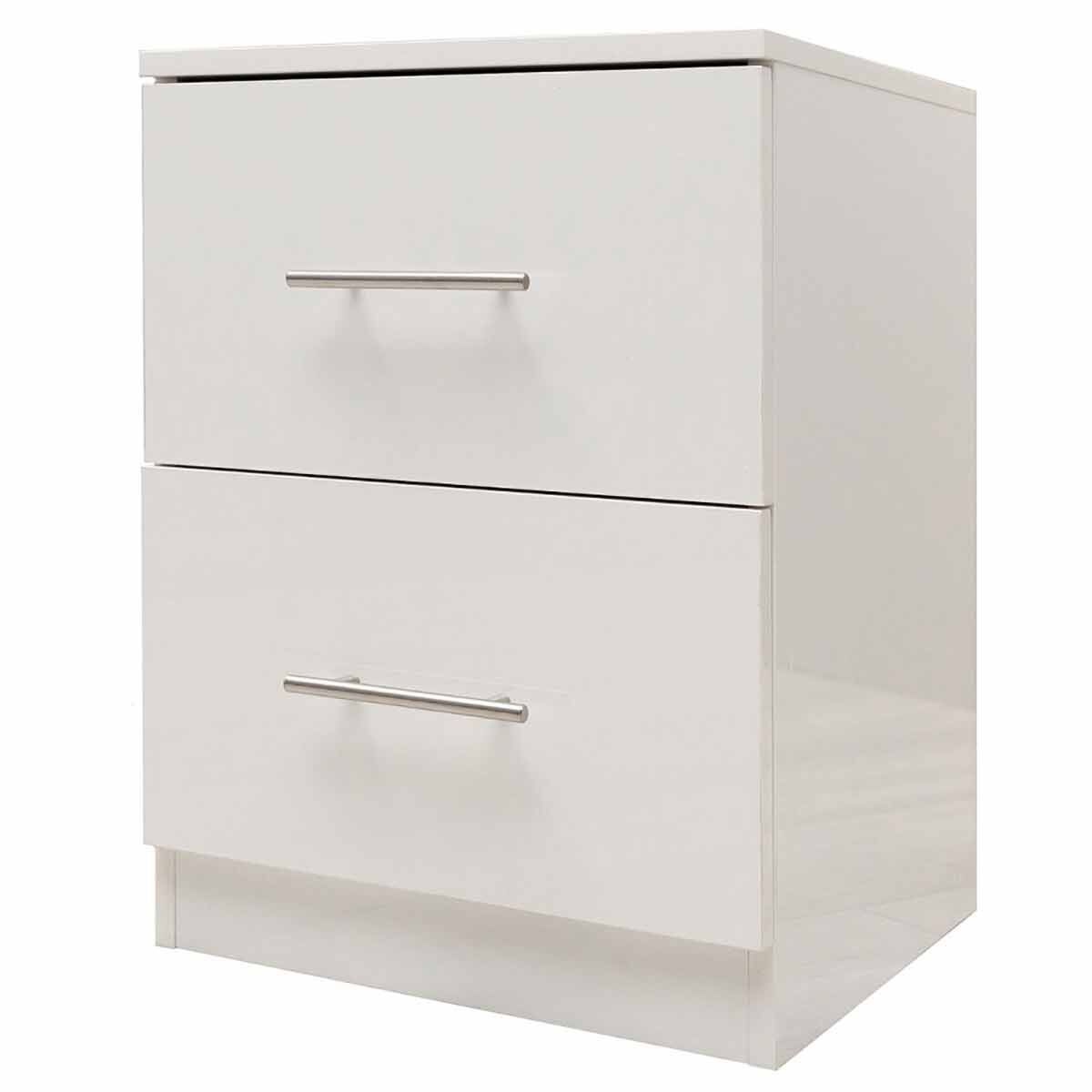 Helston Gloss 2 Drawer Bedside Cabinet White