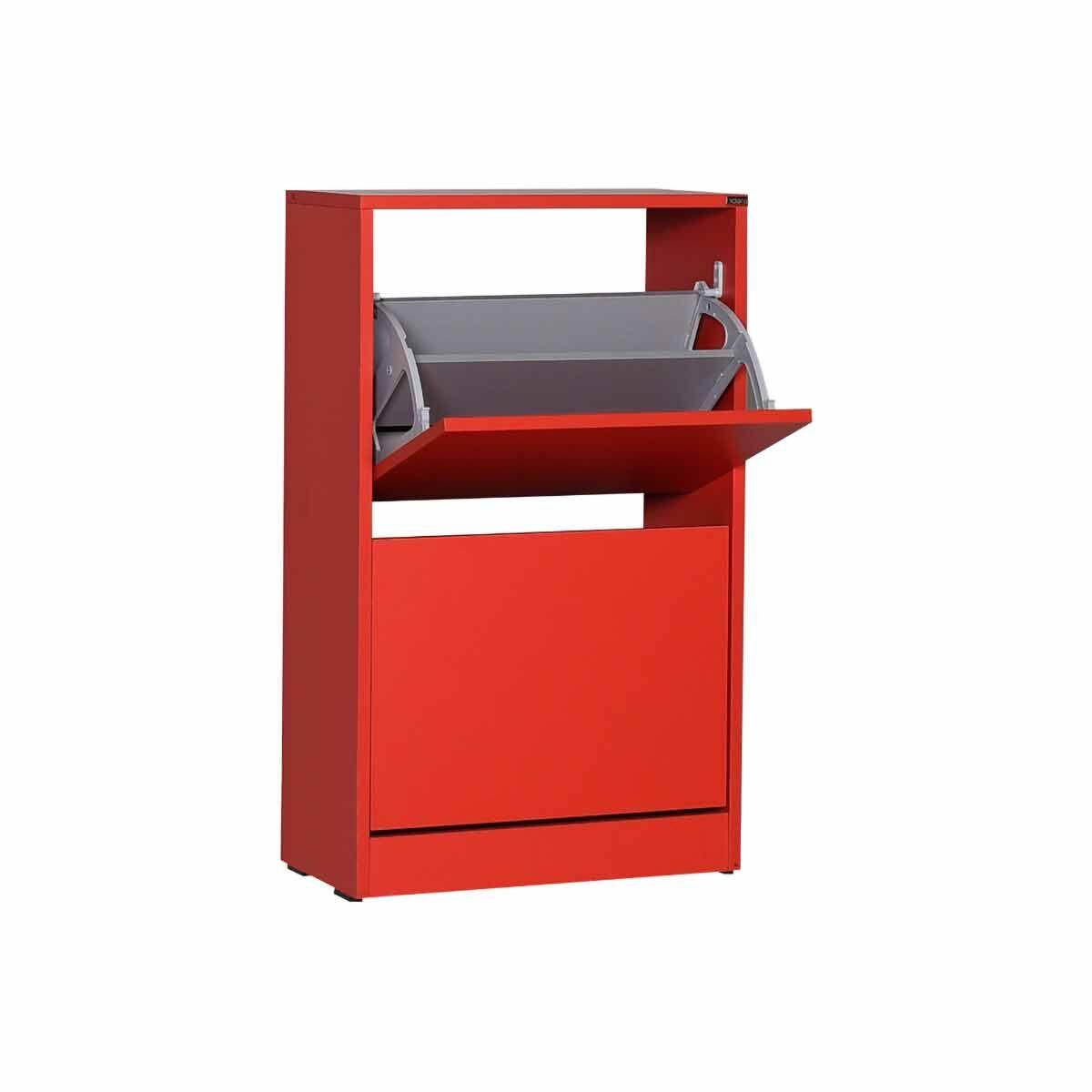 Sloane Two Tier Slim Shoe Storage Cabinet Red