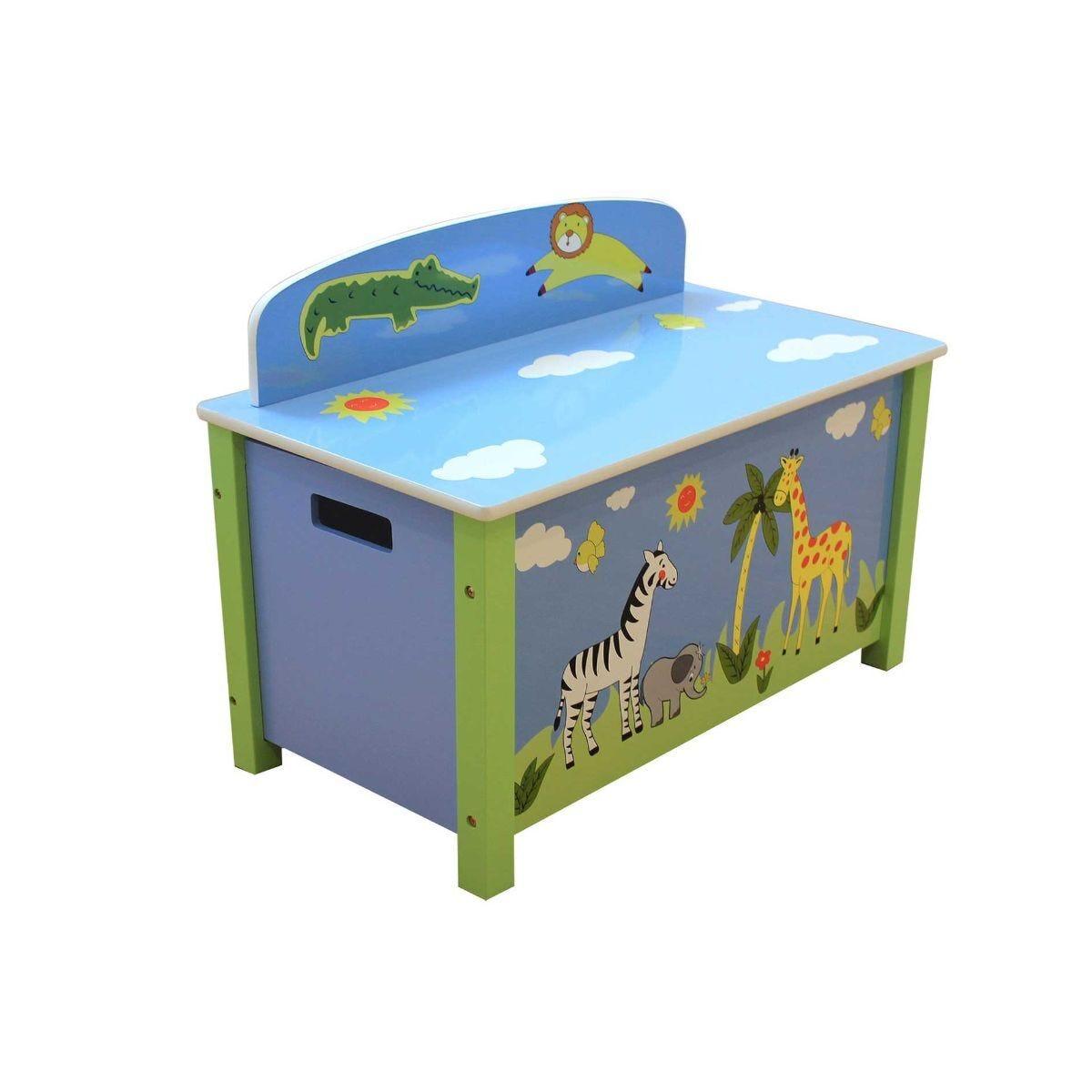 Childrens Wild Safari Wooden Toy Box Large