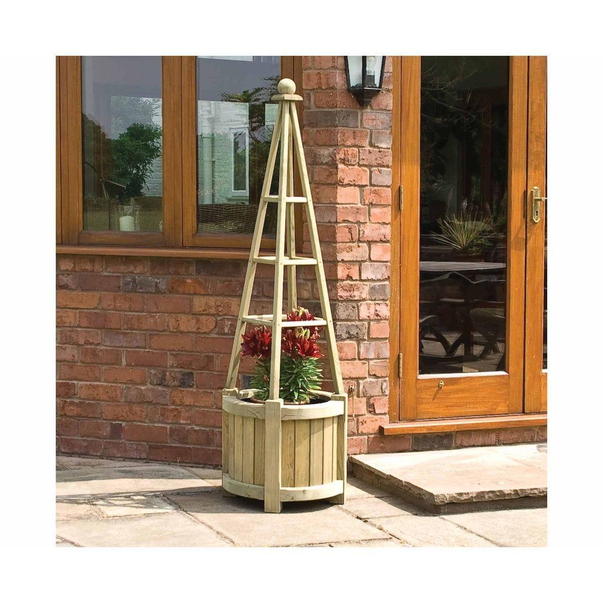 Rowlinson Marberry Obelisk Wooden Garden Planter