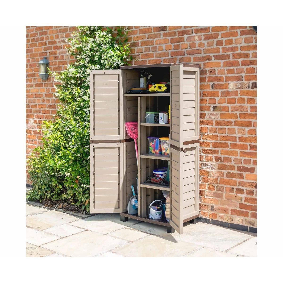 Rowlinson Plastic Garden Utility Store Cupboard Mocha
