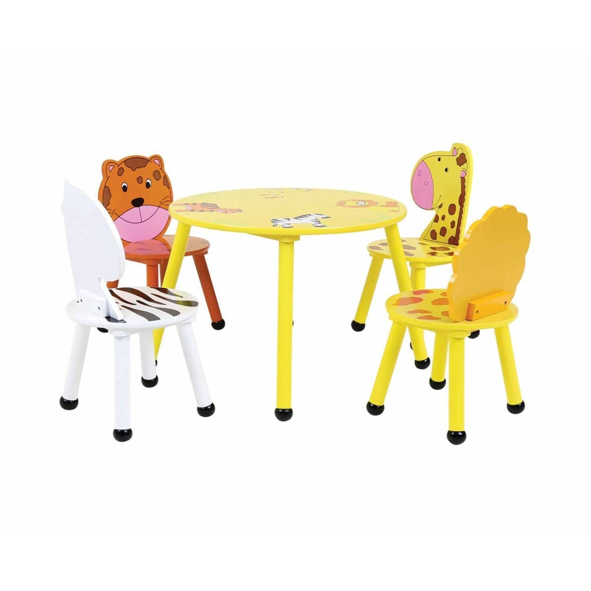 Charles Bentley Childrens Jungle Wooden Round Table and 4 Chairs Set