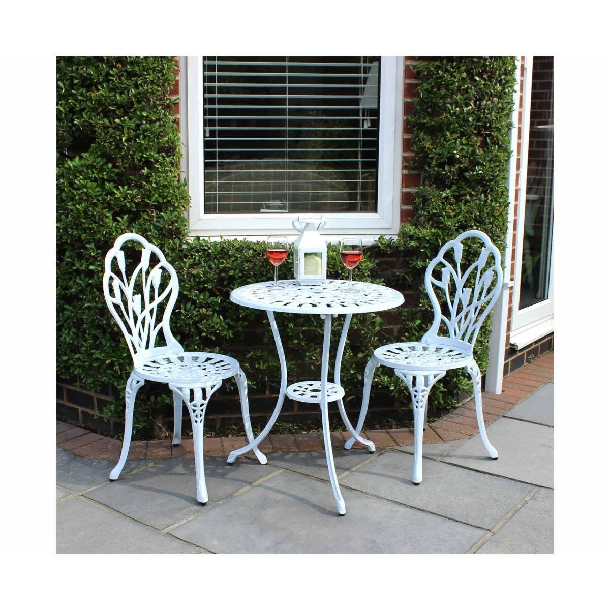Charles Bentley Cast Aluminium Tulip Bistro Table and 2 Chairs Set