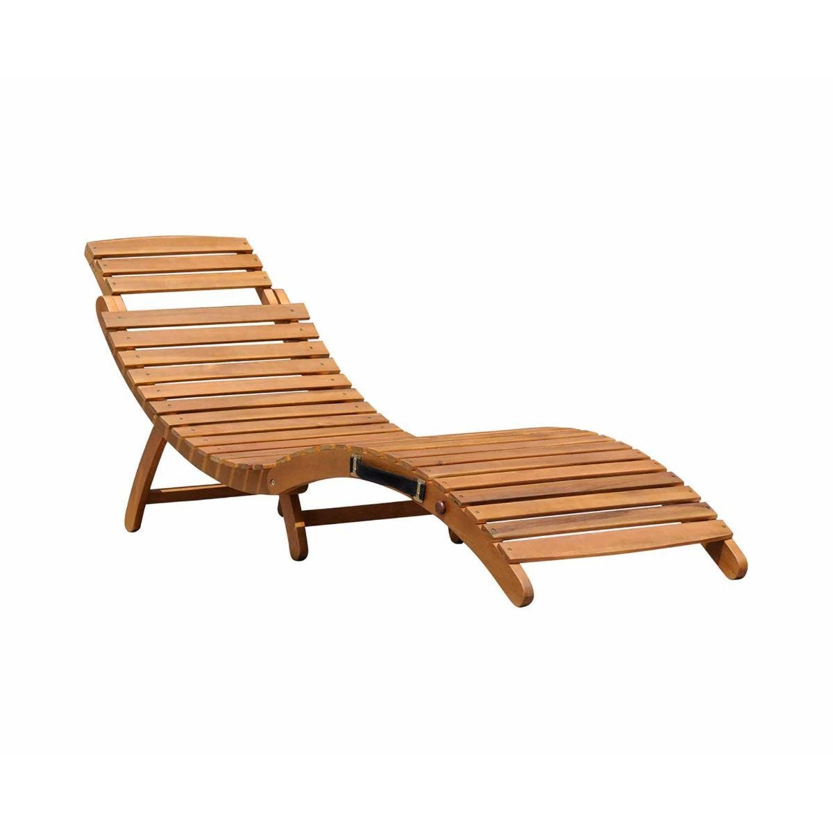 Charles Bentley Curved FSC Acacia Wooden Sun Lounger