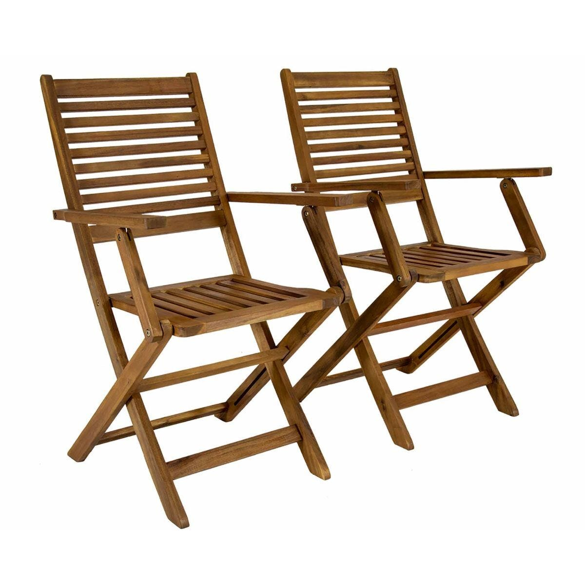 Charles Bentley FSC Acacia Wooden Outdoor Folding Dining Armchairs Set of 2