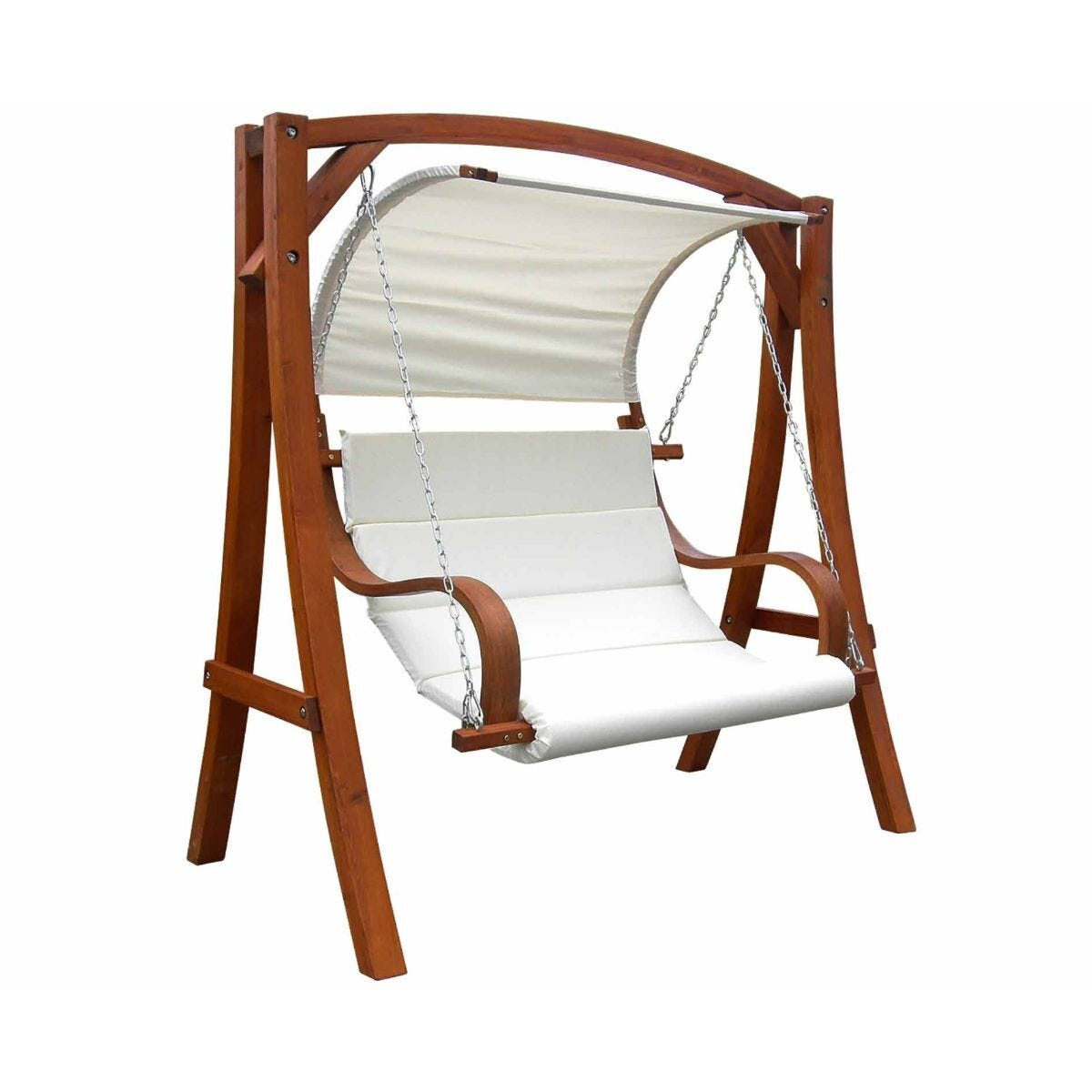 Charles Bentley Wooden Garden Swing Seat With Canopy And Cushions