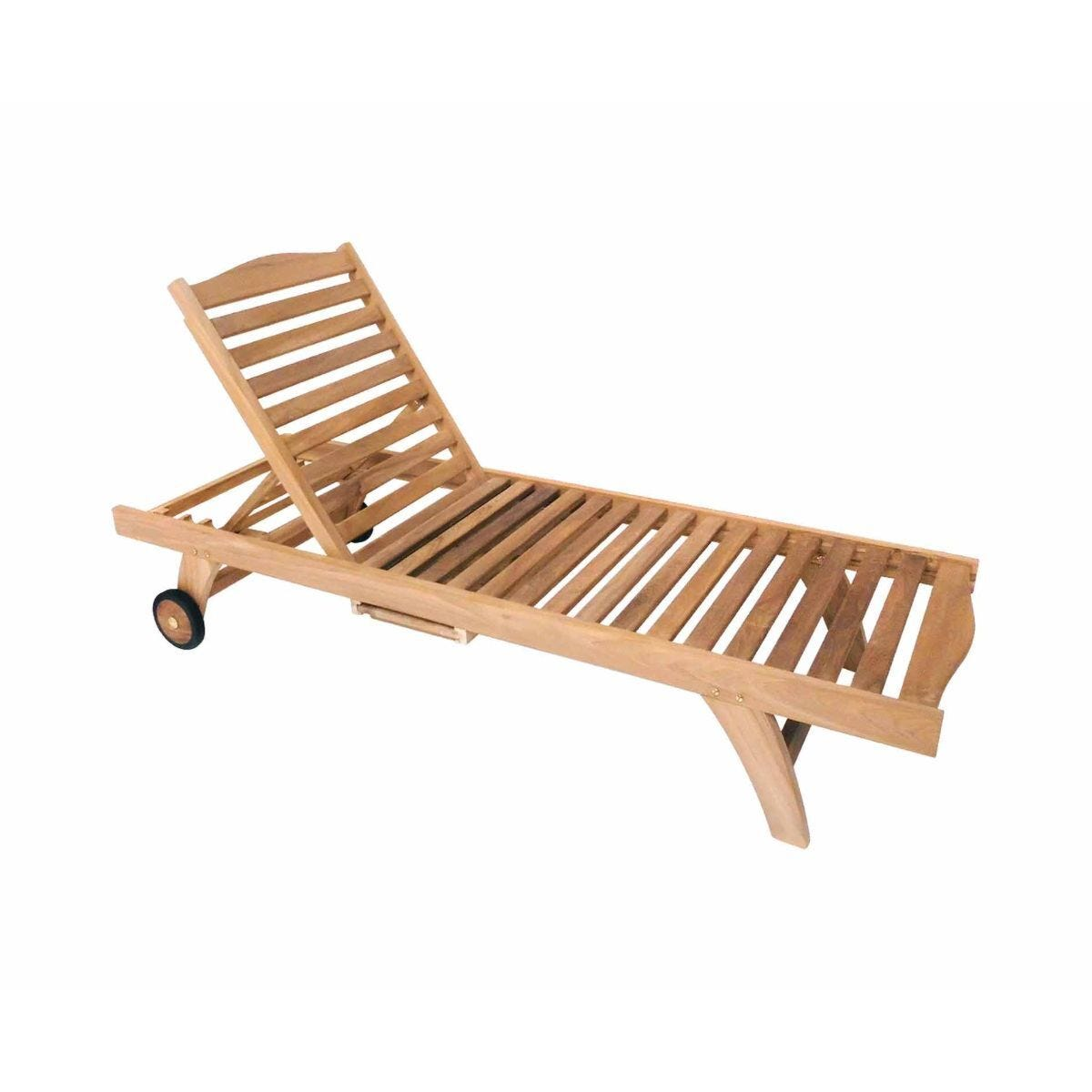 Charles Bentley Wooden Teak Garden Reclining Sun Lounger