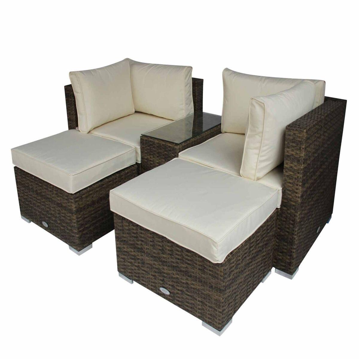 Charles Bentley 5 in 1 Multifunctional Rattan Garden Lounge Set