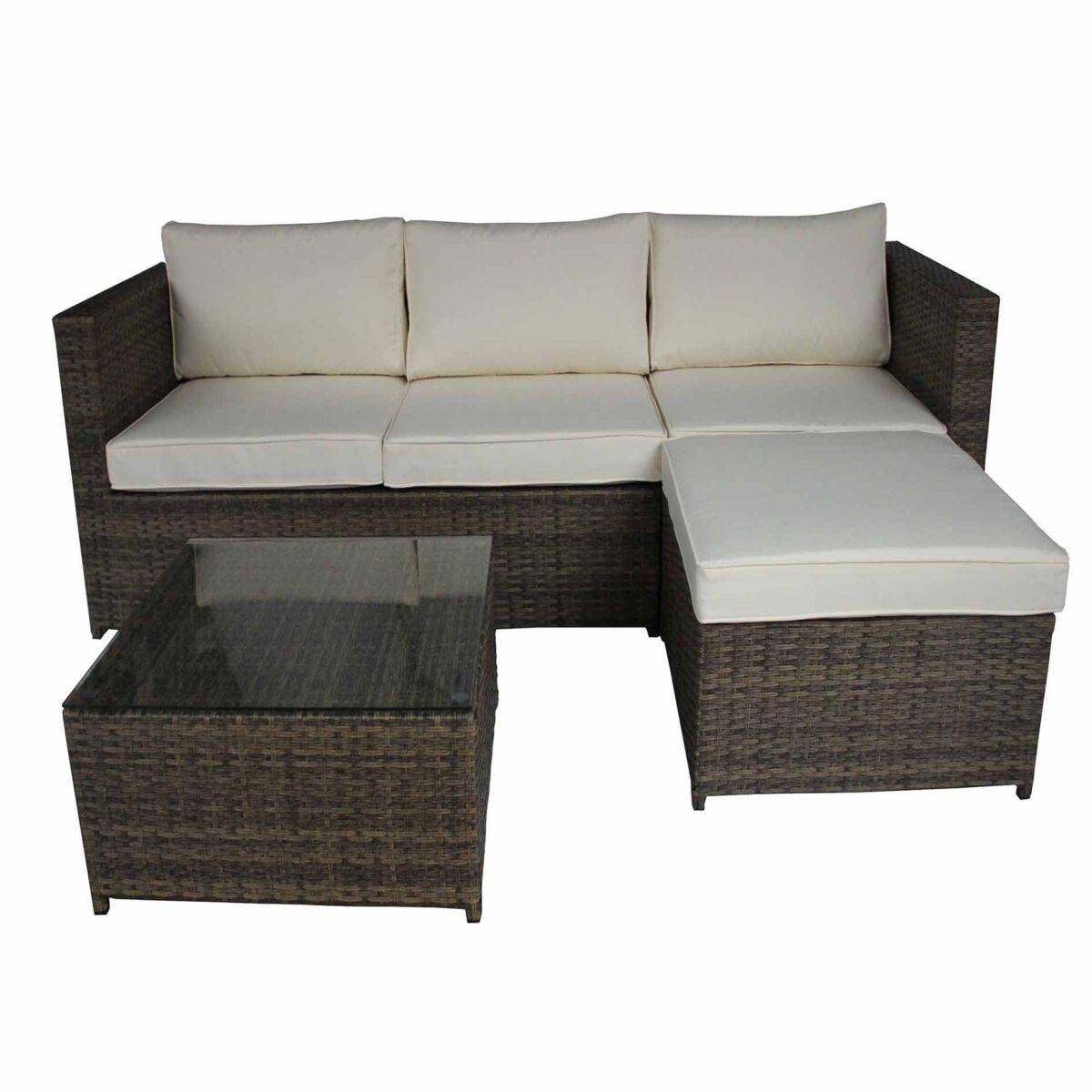Charles Bentley L-Shaped 3 Seater Rattan Garden Lounge Set