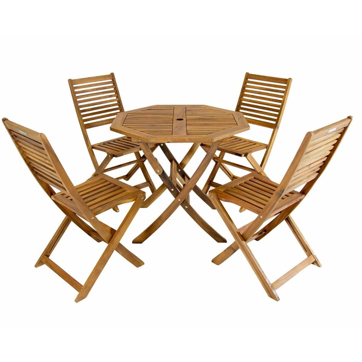 Charles Bentley FSC Acacia Wooden 4 Seater Octagonal Dining Set