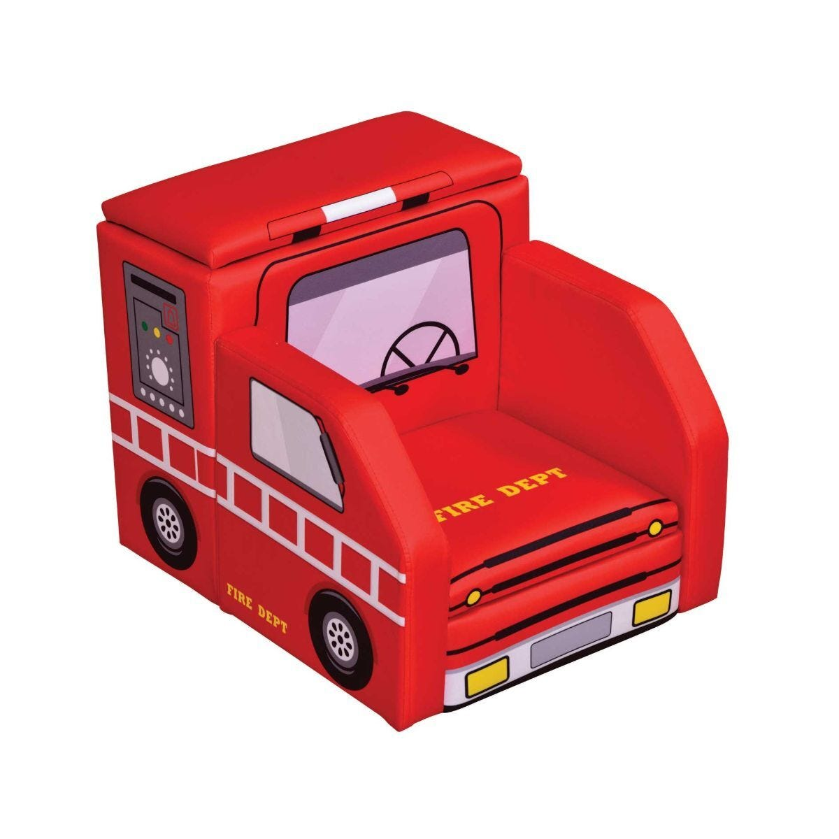 Childrens Fire Engine Chair with Storage