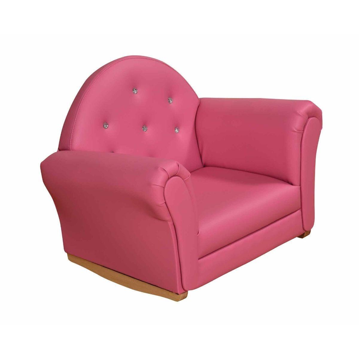 Childrens Pink Crystal Rocking Sofa Armchair