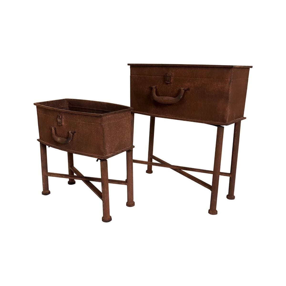 Charles Bentley Set of 2 Rust Effect Suitcase Planters