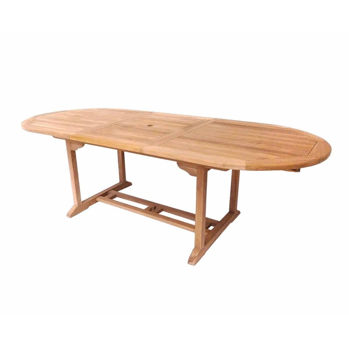 Charles Bentley Solid Wooden Teak Oval 6-8 Seater Extendable Table