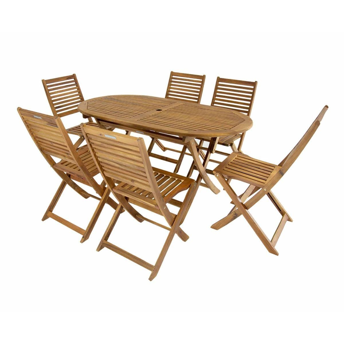 Charles Bentley Wooden FSC Acacia 6 Seater Oval Table Dining Set