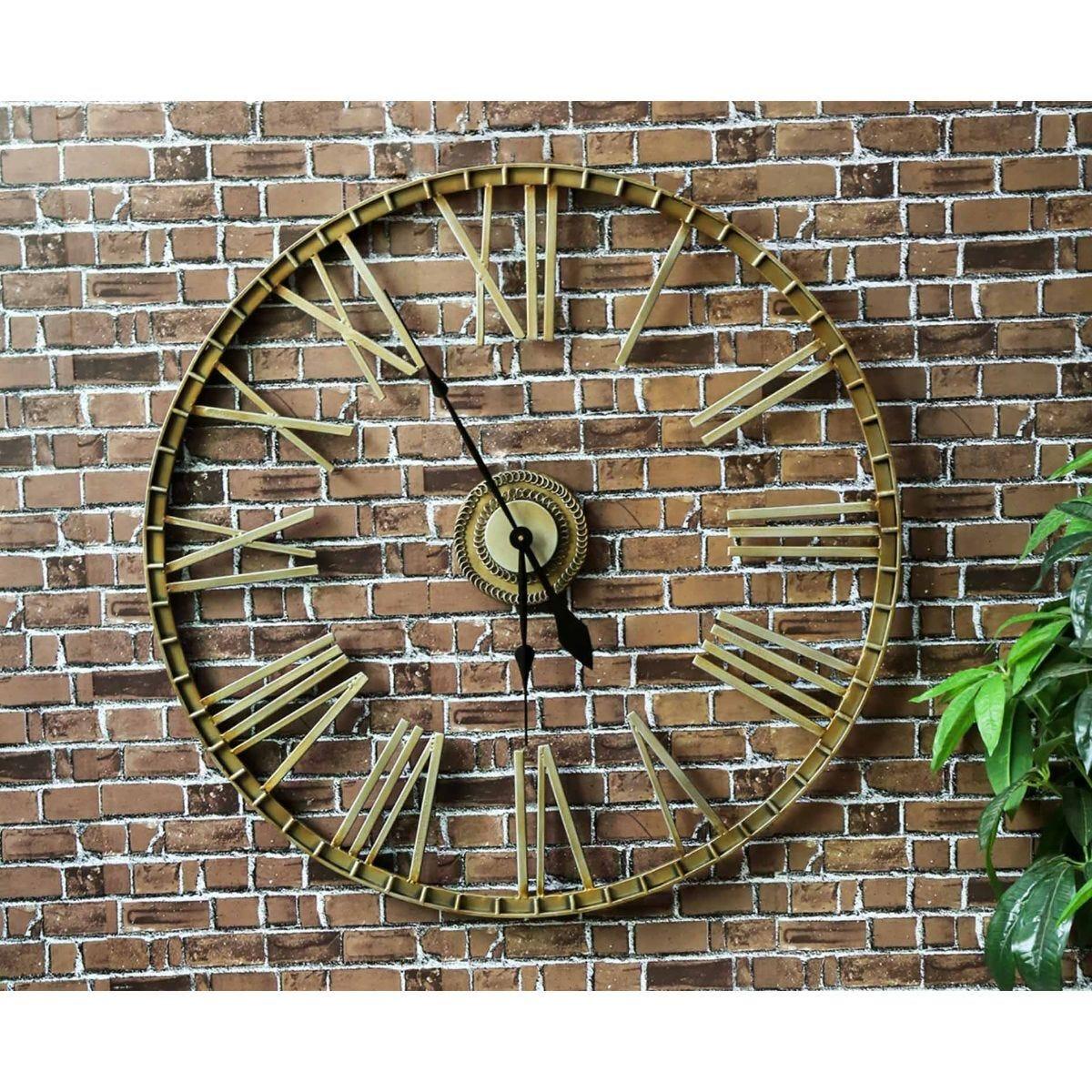 Charles Bentley Extra Large Wrought Iron Garden Wall Clock
