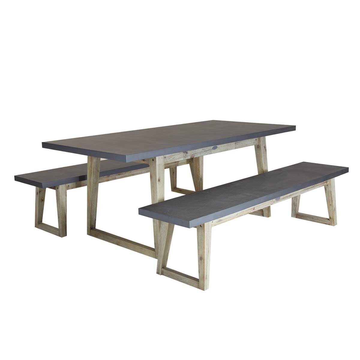 Charles Bentley Cement Dining Set Grey