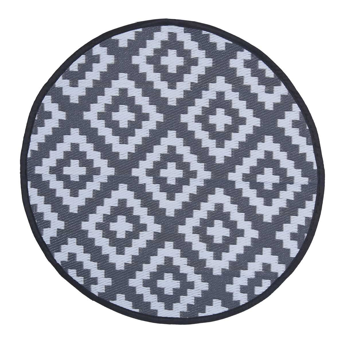 Charles Bentley Outdoor Rug Round 100cm Black and White