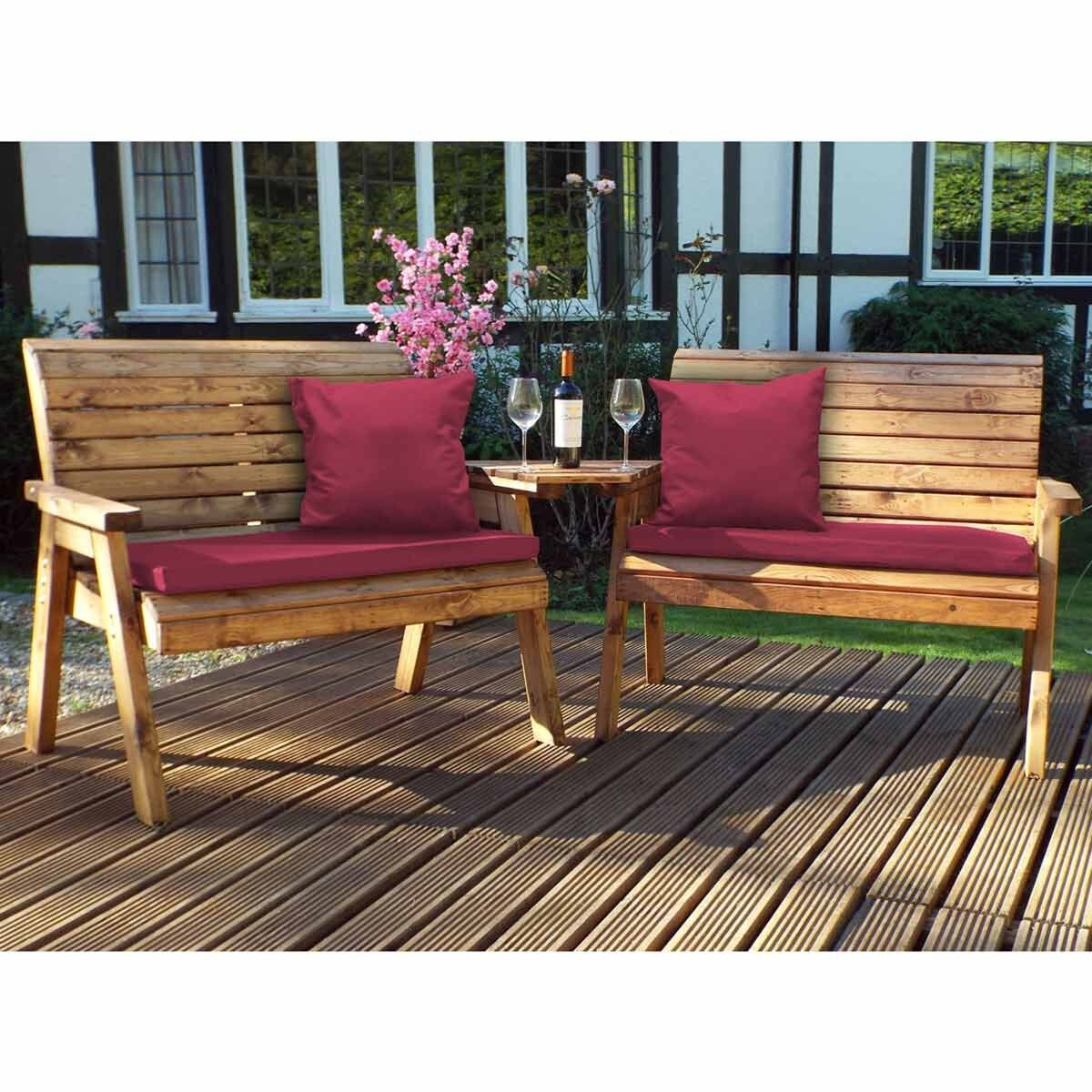 Charles Taylor Twin Angled Bench Set with Cushions Burgundy