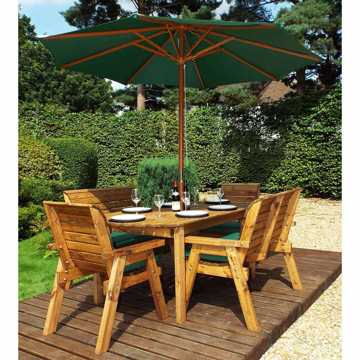 Charles Taylor Six Seater Table Set with Benches and Parasol Green