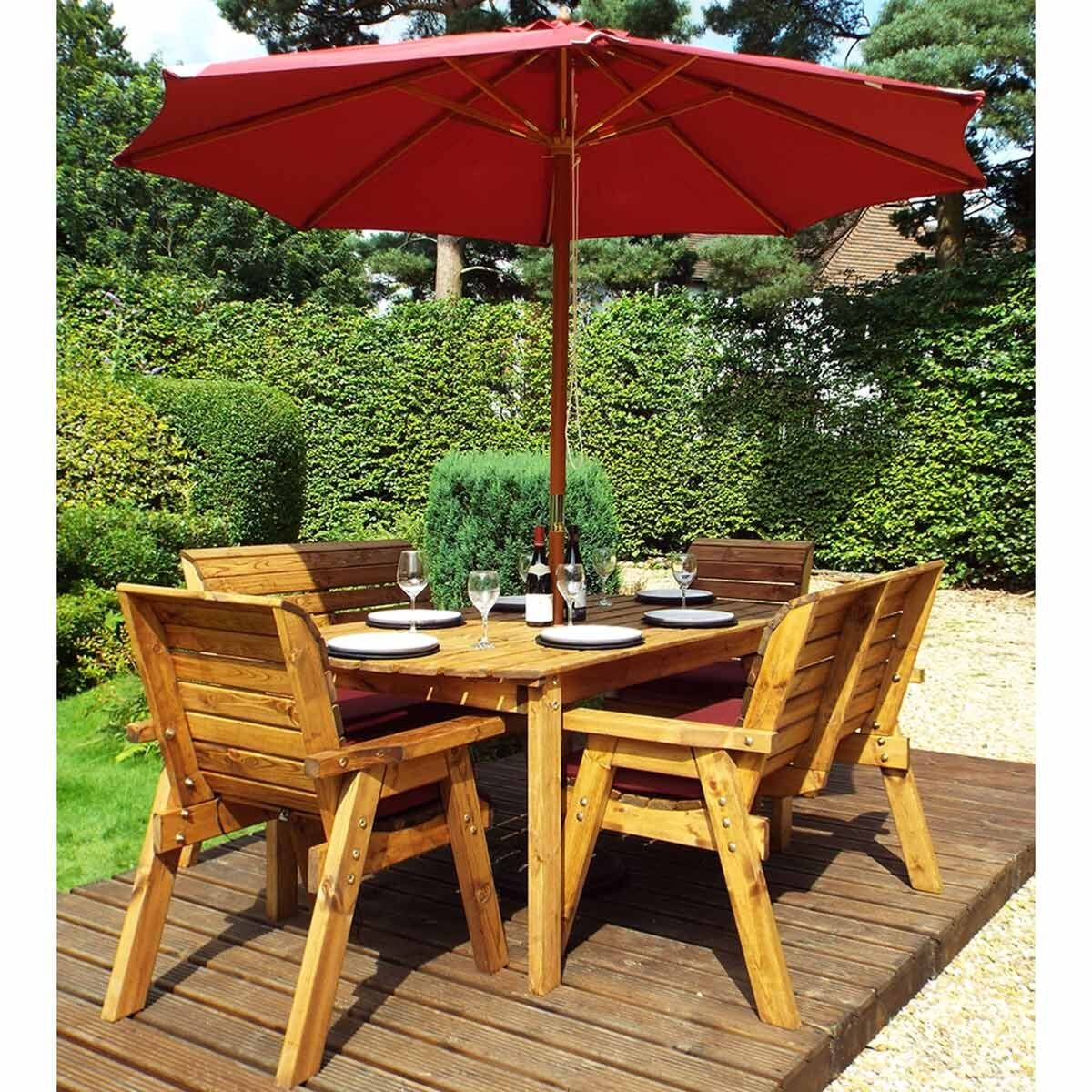 Charles Taylor Six Seater Table Set with Benches and Parasol Burgundy