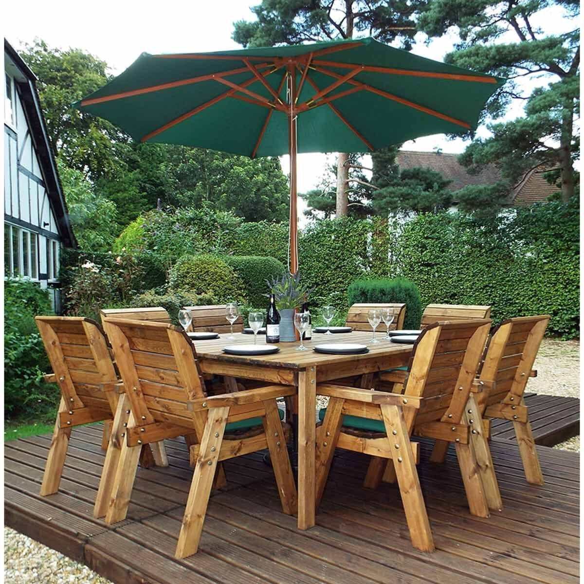 Charles Taylor Eight Seater Square Table Set with Parasol