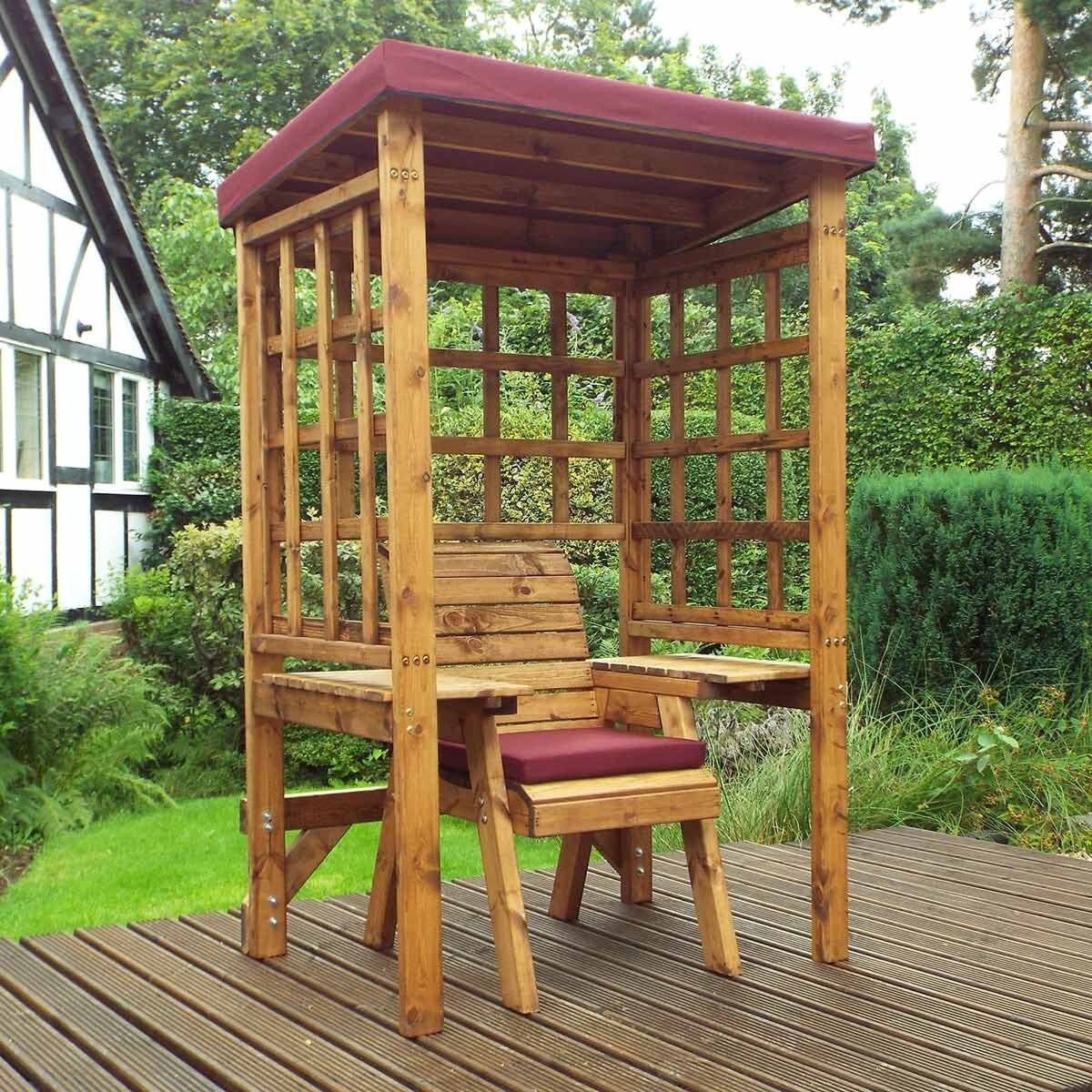 Charles Taylor Wentworth Single Seat Arbour with Cover Burgundy