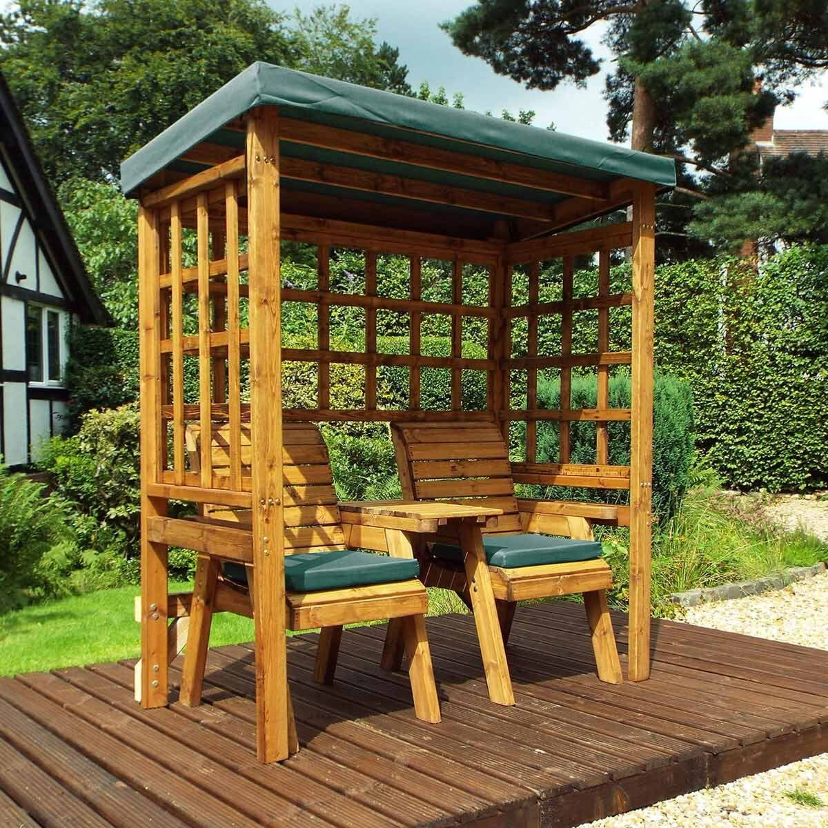 Charles Taylor Twin Seat Arbour with Cover Green