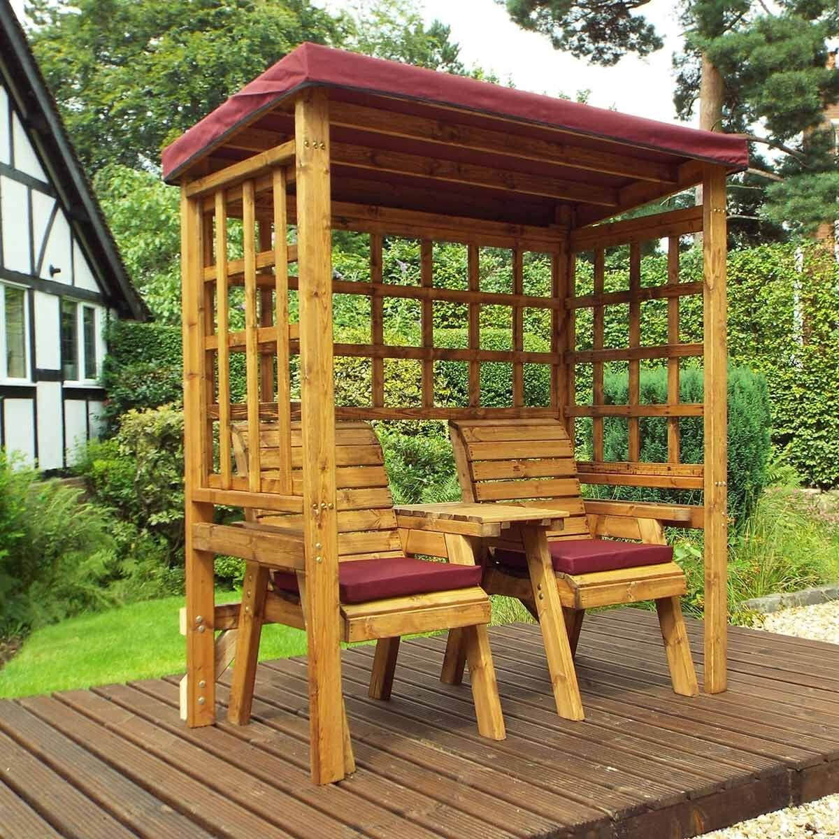 Charles Taylor Twin Seat Arbour with Cover Burgundy