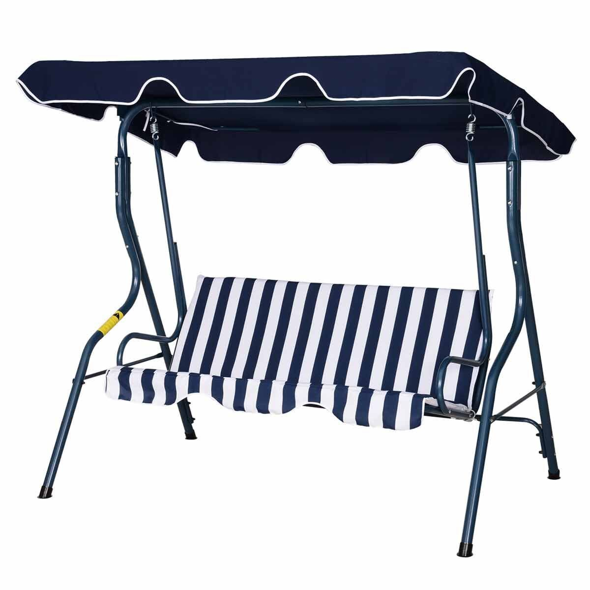 Alfresco Premium 3 Seater Swing Chair with Canopy Blue