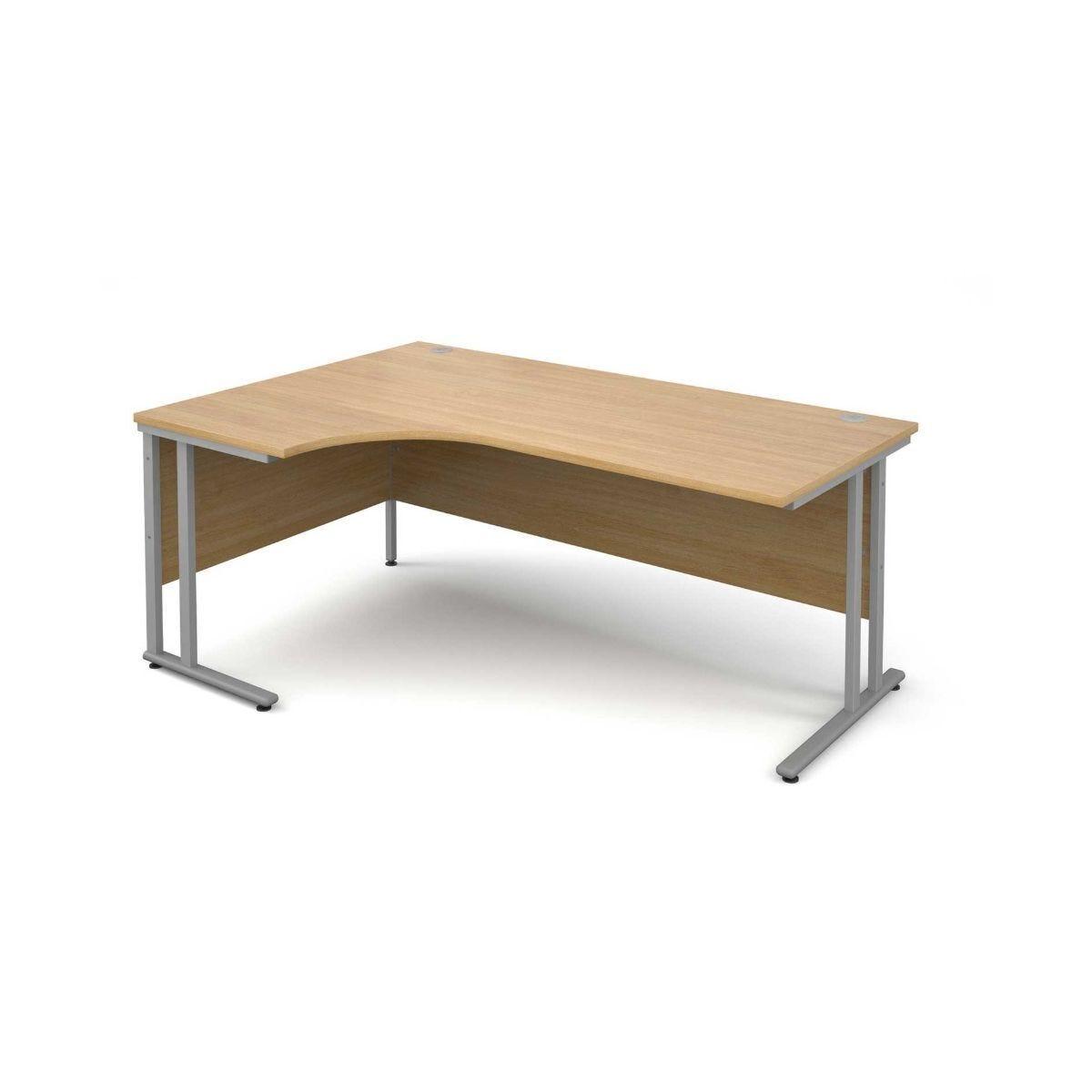 Maestro 25 Left Hand Ergonomic 1800 Desk with Silver Legs Oak