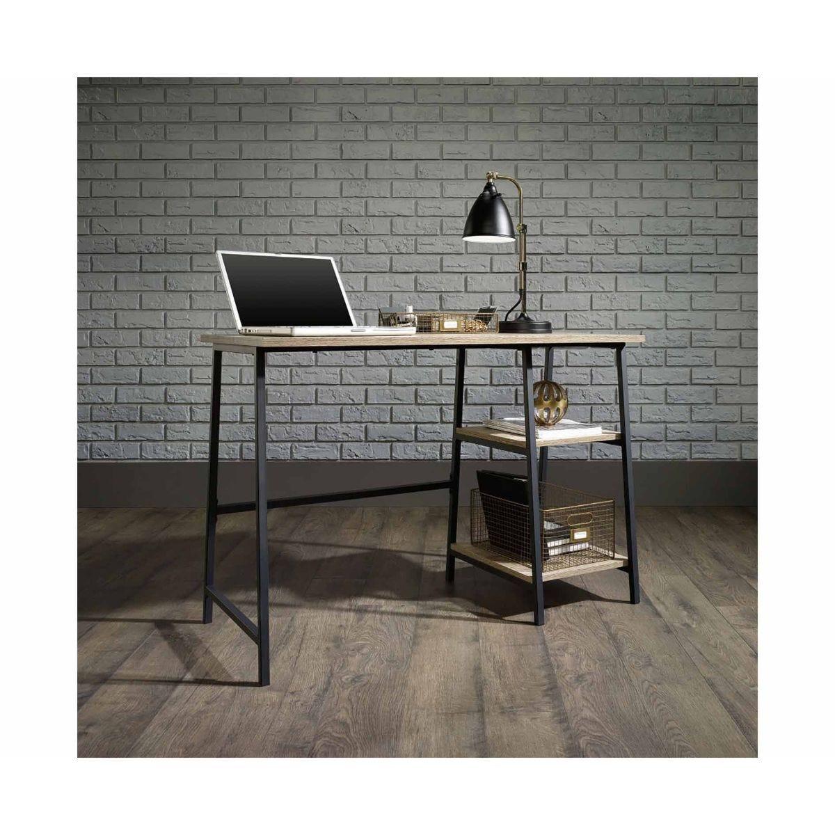 Teknik Office Industrial Bench Desk Oak Effect