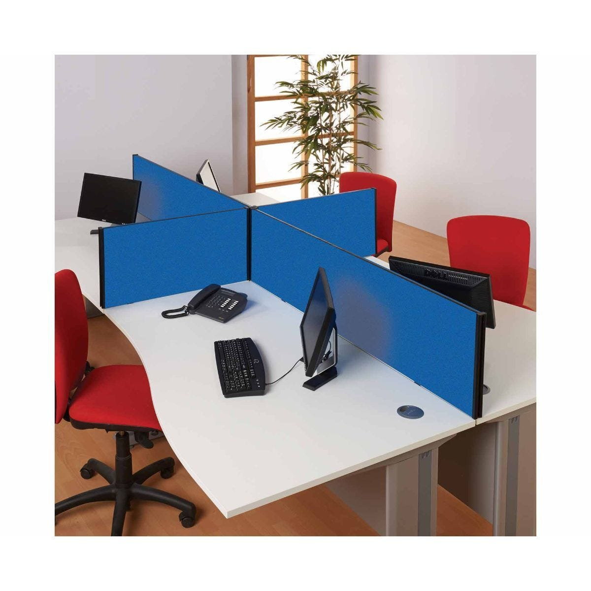 Metroplan BusyScreen Desk Mounted Partition Screen 400 x 1200mm Blue