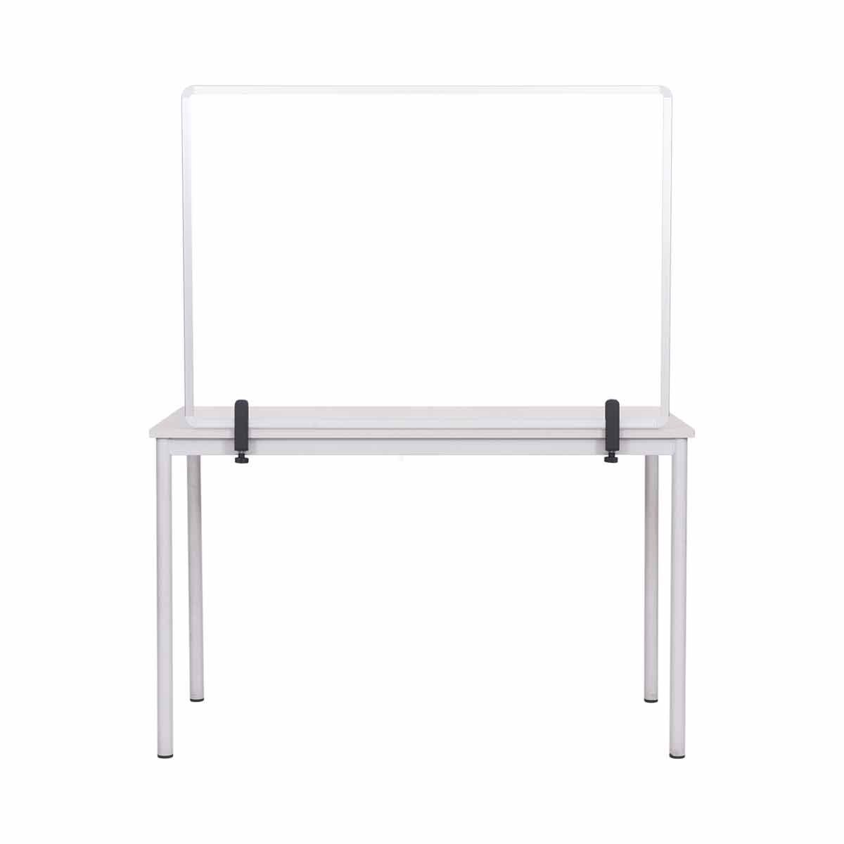 Bi-Office Protector Desktop Glass Board with Aluminium Frame and Clamps 90 x 60 cm