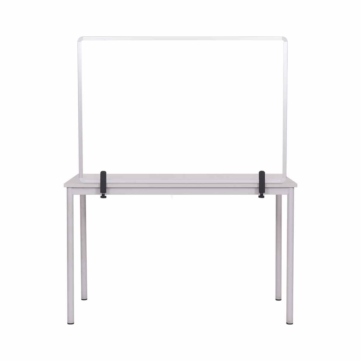 Bi-Office Protector Desktop Glass Board with Aluminium Frame and Clamps 120x90 cm